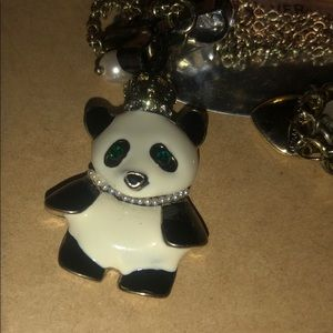 Betsey Johnson panda necklace, double chain